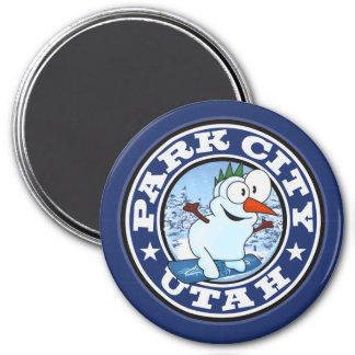 Park City Snowman Circle Magnet
