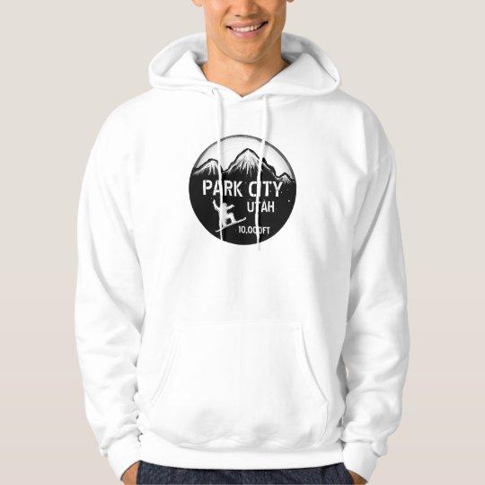 Park City Utah black snowboard art guys hoodie