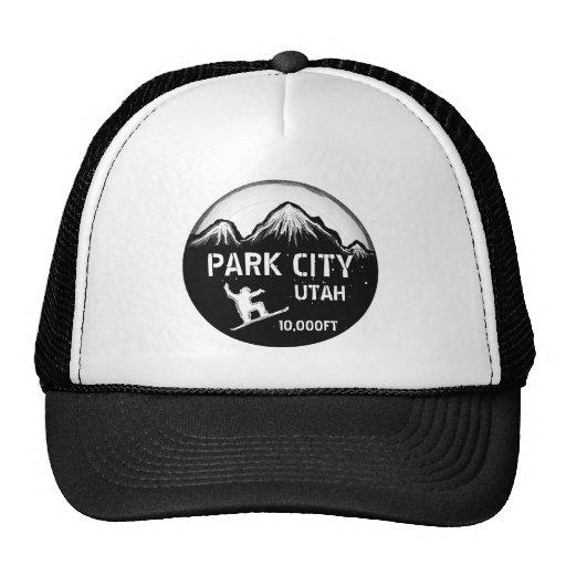 Park City Utah black white snowboard art hat