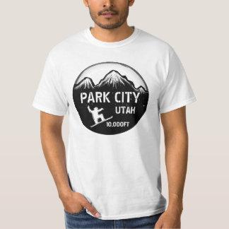 Park City Utah black white snowboard art value tee