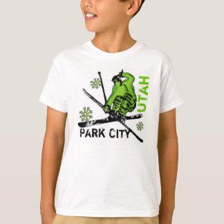 Park City Utah green theme skier boys tee