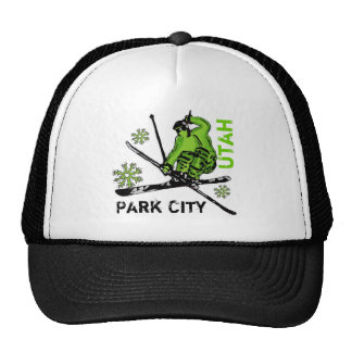 Park City Utah green theme skier hat