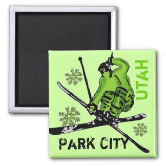 Park City Utah green theme skier magnet