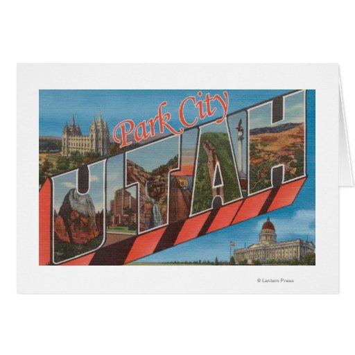 Park City, Utah - Large Letter Scenes Greeting Card