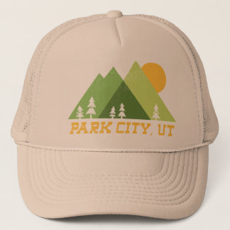 park city utah modern mountains trucker hat