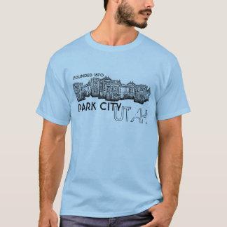 Park City Utah old town buildings guys blue tee