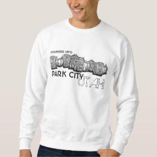 Park City Utah old town buildings guys sweatshirt