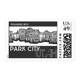 Park City Utah old town buildings postage stamps