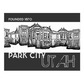 Park City Utah old town buildings postcard