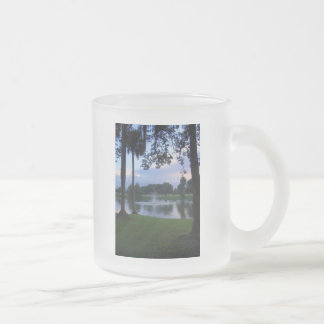 Park Fountain at Sunset Frosted Glass Coffee Mug