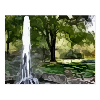 park fountain painting postcard