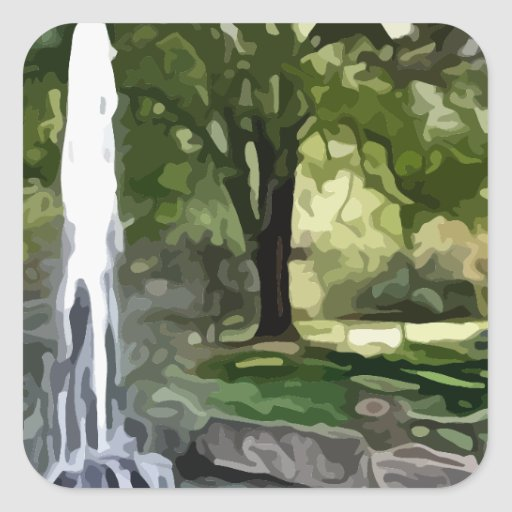 park fountain painting sticker