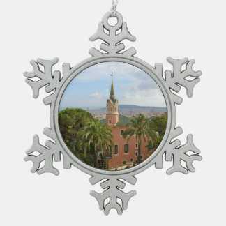 Park Guell in Barcelona Snowflake Pewter Christmas Ornament