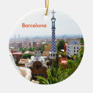 Park Guell in Barcelona, Spain Ceramic Ornament
