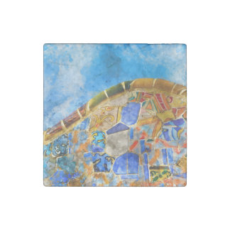Park Guell in Barcelona Spain Stone Magnet