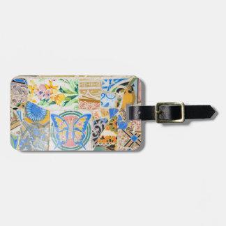Park Guell mosaics luggage tag