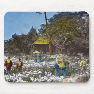 Park in Tokyo Japan Vintage Hand Tinted Mouse Pad