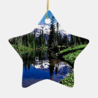 Park Mirror Lake Rainier Double-Sided Star Ceramic Christmas Ornament