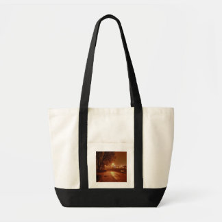 Park on a foggy night decorated for Christmas Tote Bag