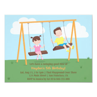 Park Playground Kids Birthday Party Invitations