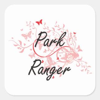 Park Ranger Artistic Job Design with Butterflies Square Sticker