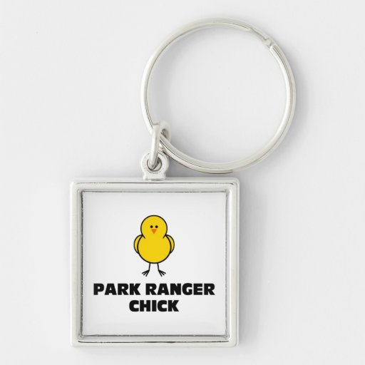 Park Ranger Chick Silver-Colored Square Keychain