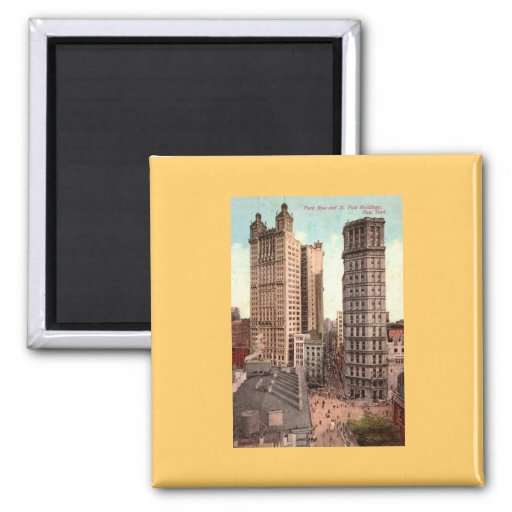 Park Row, St. Paul Buildings NYC c1915 Vintage Magnets