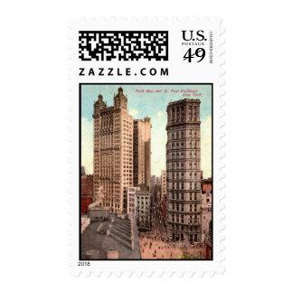 Park Row, St. Paul Buildings NYC c1915 Vintage Postage Stamp