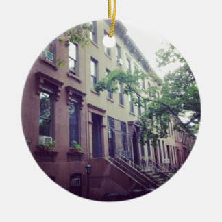 Park Slope Double-Sided Ceramic Round Christmas Ornament