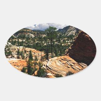 Park Swirling Sandstone Formations Zion Utah Oval Sticker