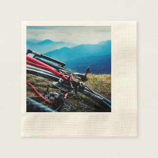 Parked Bike Overlooking Vista Paper Napkin