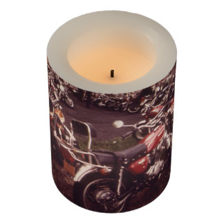 Parked Motorcycles Vintage Photograph Flameless Candle