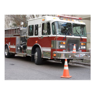 Parked Red Fire Engine Postcard