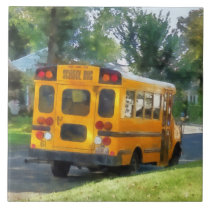 Parked School Bus Ceramic Tile