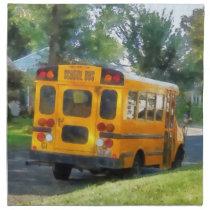 Parked School Bus Cloth Napkin
