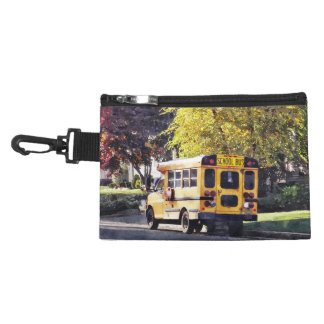 Parked School Bus In Autumn Accessory Bag