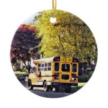 Parked School Bus In Autumn Ceramic Ornament