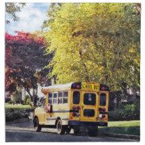 Parked School Bus In Autumn Cloth Napkin