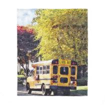 Parked School Bus In Autumn Fleece Blanket