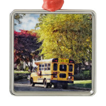 Parked School Bus In Autumn Metal Ornament