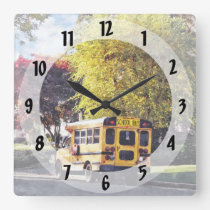 Parked School Bus In Autumn Square Wall Clock