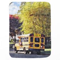 Parked School Bus In Autumn Stroller Blanket