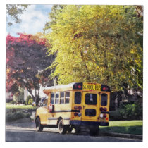 Parked School Bus In Autumn Tile