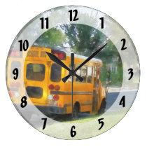 Parked School Bus Large Clock