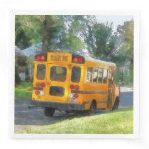 Parked School Bus Paper Dinner Napkin