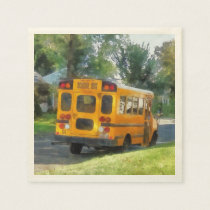 Parked School Bus Paper Napkin