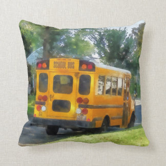 Parked School Bus Throw Pillow