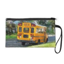 Parked School Bus Wristlet Purse