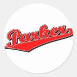 Parker en rojo etiqueta redonda