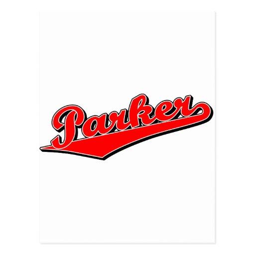 Parker en rojo tarjetas postales